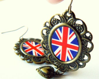 UK flag earrings. British jewelry. United Kingdom. Union Jack. Antique bronze with hearts.