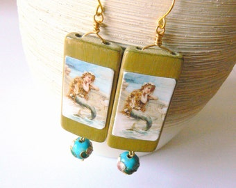 The Little Mermaid Earrings. Boho Chic. Hippie. Gypsy. Floral. Olive Green Turquoise Blue Gold Brass. Clip on available.