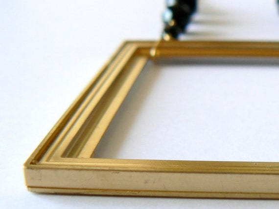 Black gold necklace. Long. Geometric. Art Deco. Architectural. Statement. Brass, glass and resin dollhouse frame.