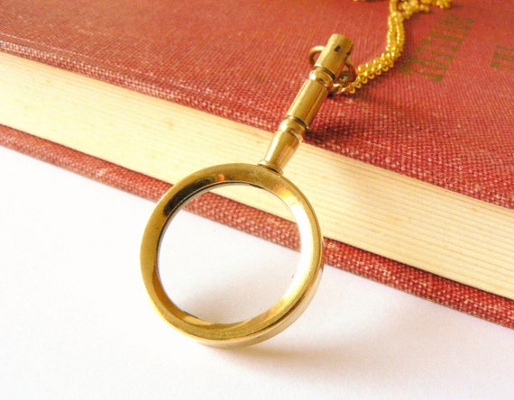 Magnifying glass necklace. Nautical. Steampunk jewelry. Victorian. Reader. Brass with gold plated brass chain.
