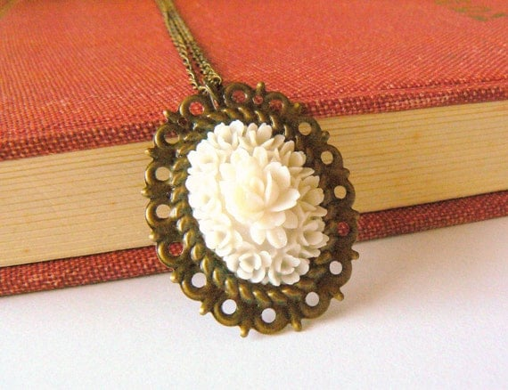 White rose flower necklace. Casual chic jewelry. Romantic. Floral. Mounted on antique brass.