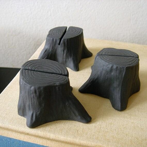 Tree stump card holders - set of 4 - Black