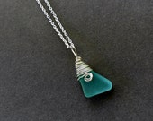 Aquamarine Seaglass Silver Spiral Pendant