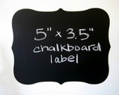 Large Fancy Vinyl Chalkboard Labels Self Adhesive  - SET OF 6 -  Make your own mini chalkboards