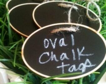 Oval Wood Chalkboard Labels - set of 4 - Basket Labels, Chalkboard Tags, Wedding Chalkboards, Rustic Wedding