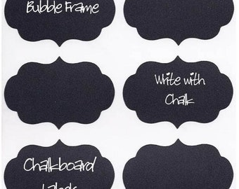 12 Chalk Labels® Bubble Frame Style, Chalkboard Labels, Chalkboard Stickers, Mason Jar Labels