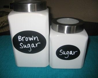 24 Oval Chalkboard Labels, Canister Labels, Kitchen Labels, Get Organized