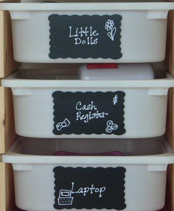 Scallop Rectangle Chalkboard Labels- 6 - Large