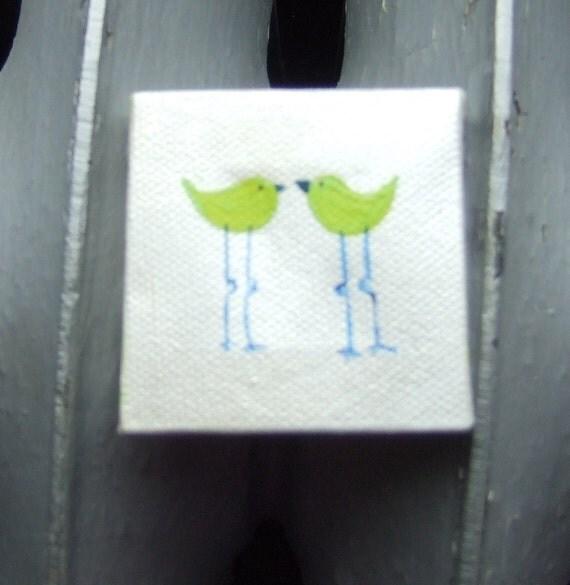 Bird Love-Mini Canvas-Original Acrylic Painting