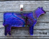 4-H  show heifer multi color dichroic glass pendant with necklace