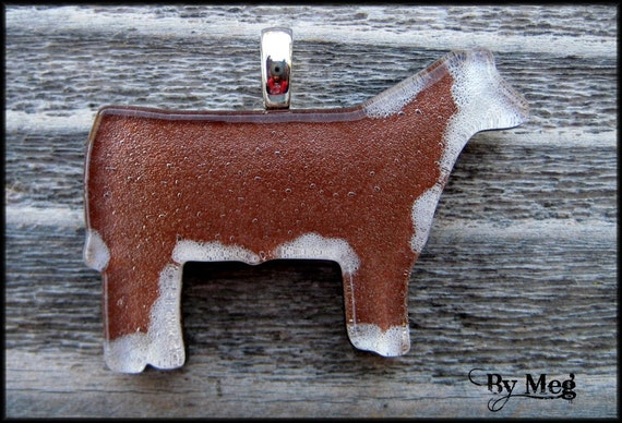 Hereford hand painted  fused glass pendant