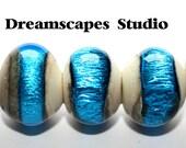 Coastal - Silver Waves - Lampwork Beads - 5 - SRA