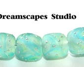 Sparkling Sea Stones - Silver Trails - Etched - Lampwork Beads - 8 - SRA - Made to Order