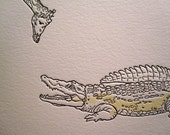 Giraffe and Crocodile letterpress print