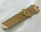 Reserved for Maurice — Edwardian / Victorian Watch Fob - Brilliant Gold Filled Mesh Ribbon wo Pendant or Clip - No. 6