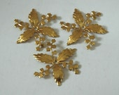 3 Vintage Gold Plated Brass Settings - Unused Stock for Wrapping, Beading, Jewelry, Crafts