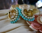 Vintage Beaded Hoops, 1940s Miriam Haskell Inspired Wired Glass Pearls and Turquoise, Screwbacks