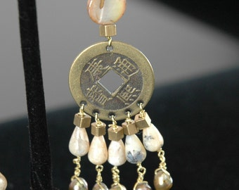 Chinese Coin Brass Earrings with Shell, Pearl, and Jasper