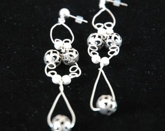 Sterling Window Earrings with Stardust Beads