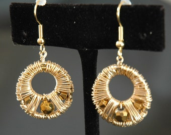 Gold Wire Wrapped Hoop Earrings