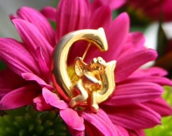 Retro Cupid Brooch, Gold Plated Winged Angel Sitting on Initial G
