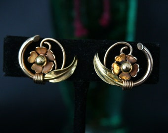 Vintage 12K GF Flower Earrings, Yellow & Rose Gold, Swirled Vine Design