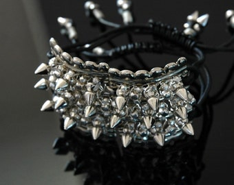 Upcycled Spike Bracelet, Cuff Styling with Adjustable Black Leather Straps