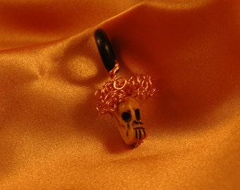 Little Skull Pendant of Yak Bone and Wire Hair - Redhead Afro