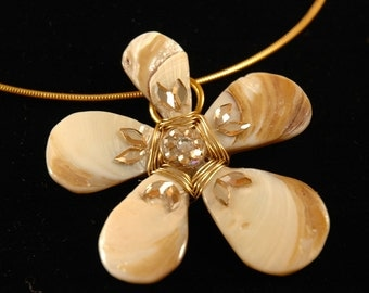 Daisy Choker with Shell, Crystal, and Gold Pendant