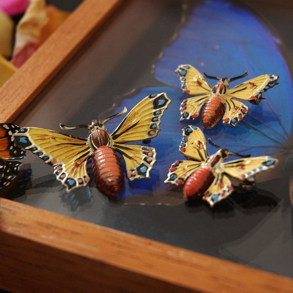 Vintage Hand-Painted Moth Brooches, Czech, Enamel Butterfly, Sterling, Set of 3 Scatter Pins, Mint Condition