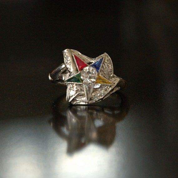 Reserved for Kristi - Vintage Eastern Star Ring, OES Past Grand Matron, 14k White Gold, Glass Stones, Sz 7.25
