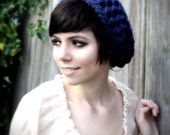 Forest Folk Slouch Beanie in Navy