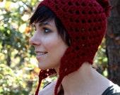 Earflap Hat - Red Crochet Hat - with Pom Pom - Soft- Beanie