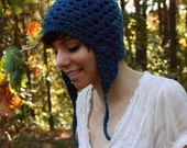 Earflap Hat - Blue Crochet Hat - with Pom Pom - Soft - Beanie - Fall