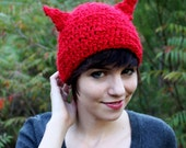 Crocheted red fox hat for adults - soft and warm beanie with ears - costume for adults