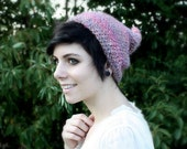 Crocheted pink pixie hat for adults - Bubblegum pink elf hat for women