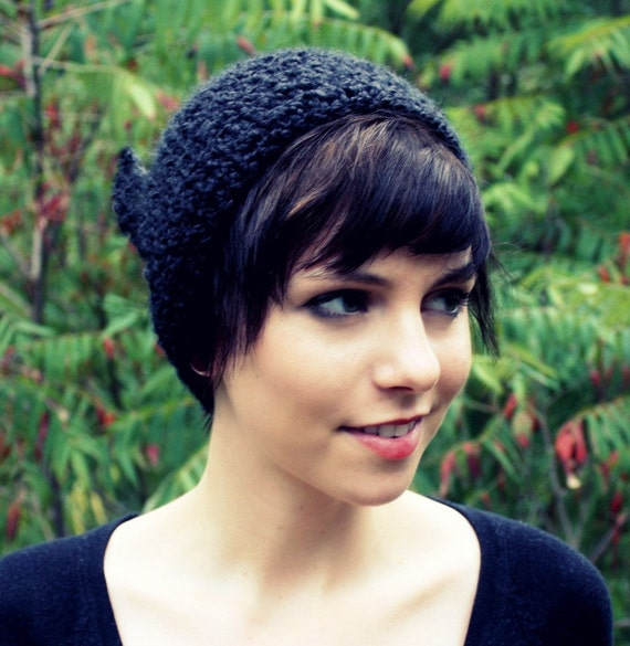 Crocheted black pixie elf hat for adults - Pointed woodland creature hat for women