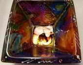 Art Glass Bowl with Swarovski Crystals - Free Shipping