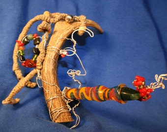 Roots  Rock  Reggae  and  Rudy  -  Abstract Antler Dready Wall Hanging Sculpture