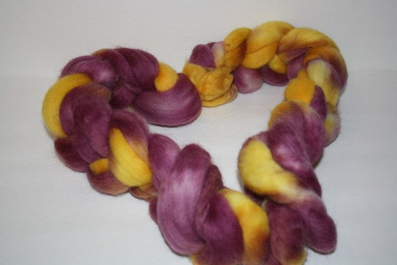 Hand Painted  Corriedale Roving for Spinning and Felting Orestimba