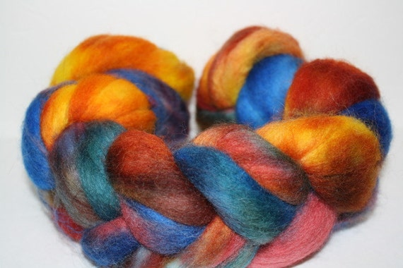 Kettle Dyed Corriedale Roving for Spinning and Felting Tie Dye Series 1