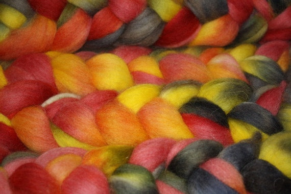 Hand Painted Corriedale Roving for Spinning, Felting, Fiber Art,Cabo