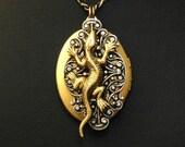 Lizard Locket   ---  Double Sided Steampunk Lizard Locket Necklace With Filigree