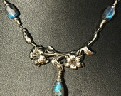 Labradorite Lilies --- Antique Silver Floral Lily Crescent Necklace With Labradorite Drop And Accents