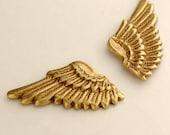 Wing Cuff Links SOLDERED - Cuff Wings - Golden Brass Winged Cufflinks - The Flight Series Cufflink - SOLDERED Flying Fantasy Gold Cuff Link
