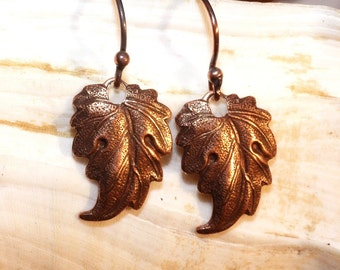 Autumn    ---    Antiqued Copper Leaf Earrings on Antiqued Copper Ball-Ended Ear Wires