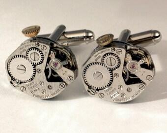 Missing Link - Soldered, Textured Steampunk Cuff Links - Identical, Vintage, Textured, Swiss, Repurposed Caravelle Watch Movement Cufflinks