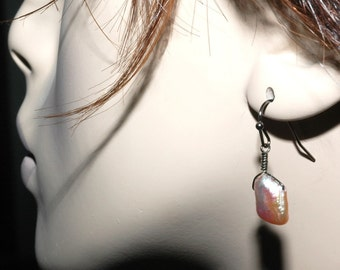 Pretty In Pink   ---   Pink Biwa Pearl Earrings With Gunmetal Ear Wires