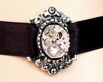 Steampunk Neo Victorian Choker - Adjustable - Vintage, Repurposed Watch Movement Choker Necklace In Antiqued Silver With A Swarovski Crystal