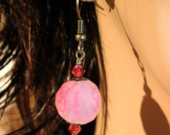 Indian Pink Fantasy   ---   Fantasy Chalcedony Earrings With Indian Pink Crystals